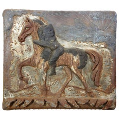Cast Iron and Copper Plaque of a Horse and Rider from Texas