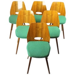 Frantisek Jirak Lollipop Dining Chairs in Walnut Veneer for Tatra, circa 1960