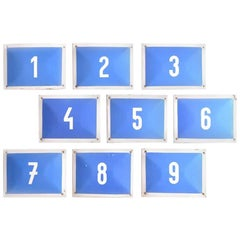 Metal Number Plates in Blue and White, Czechoslovakia, circa 1960