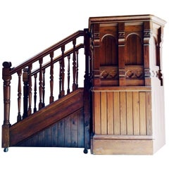 Antique Victorian Church Pulpit and Stairs Pitch Pine Gothic DJ Booth