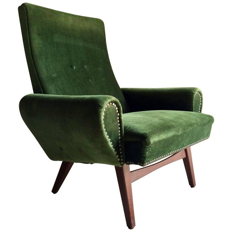 Danish Armchair Green Velour Teak Mid-Century Vintage