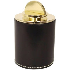 Contemporary Round Italian Leather & Swedish Brass Modern Minimalist Artisan Box