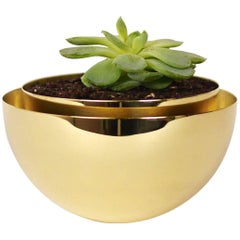 Contemporary Round Swedish Brass Modern Minimalist Artisan Planter, Vase, Vessel