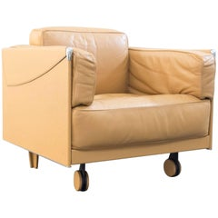 Poltrona Frau Twice 1999 Designer Chair Leather Mustard Yellow One Seat Modern