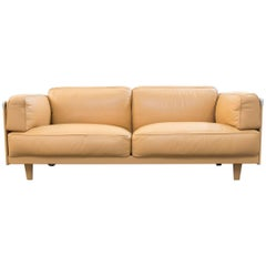 Poltrona Frau Twice 1999 Designer Sofa Leather Mustard Yellow Three-Seat Modern