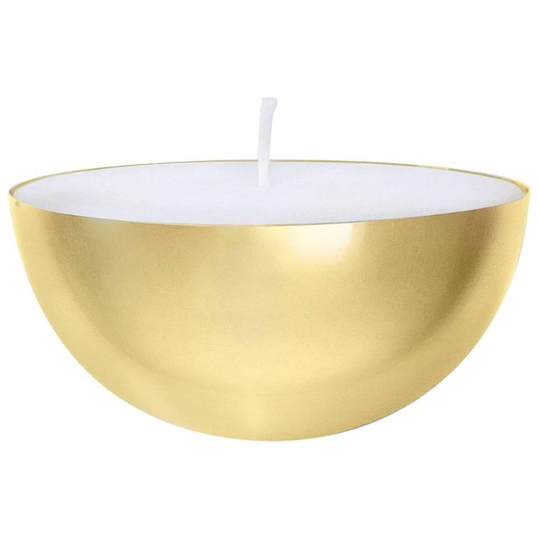 Contemporary Round Handspun Swedish Brass Modern Minimalist Artisan Candle For Sale