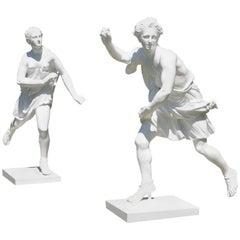 Pair of Painted Zinc Statues of Hippomenes and Atalanta