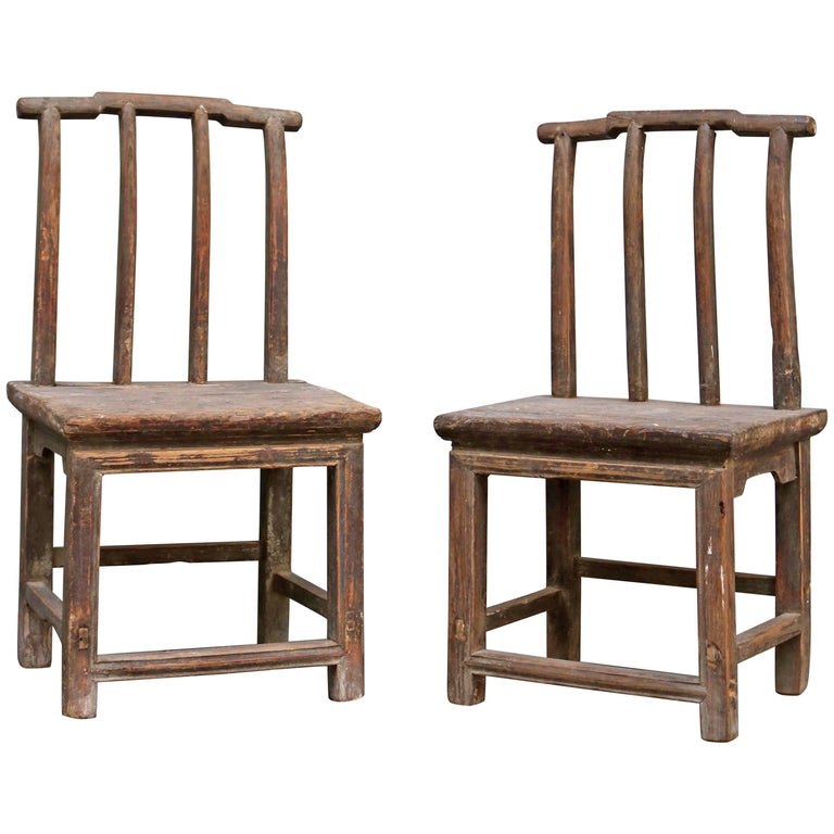 Pair of Children Chairs Made in Old Chinese Elm Wood 1