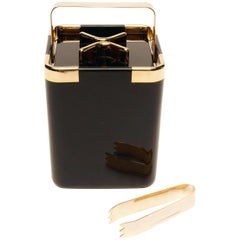 Turnwald Collection Black and Gold Early 1980s, Ice Bucket with Tongs