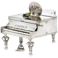 Antique German Silver Music Box in the Form of a Grand Piano