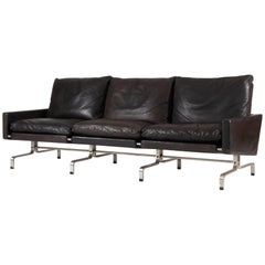 """Three-Seat """"PK 31"""" Leather Sofa by Poul Kjaerholm"""