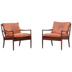 Pair of 1950 cognac leather, wooden Chairs by Ib Kofod-Larsen