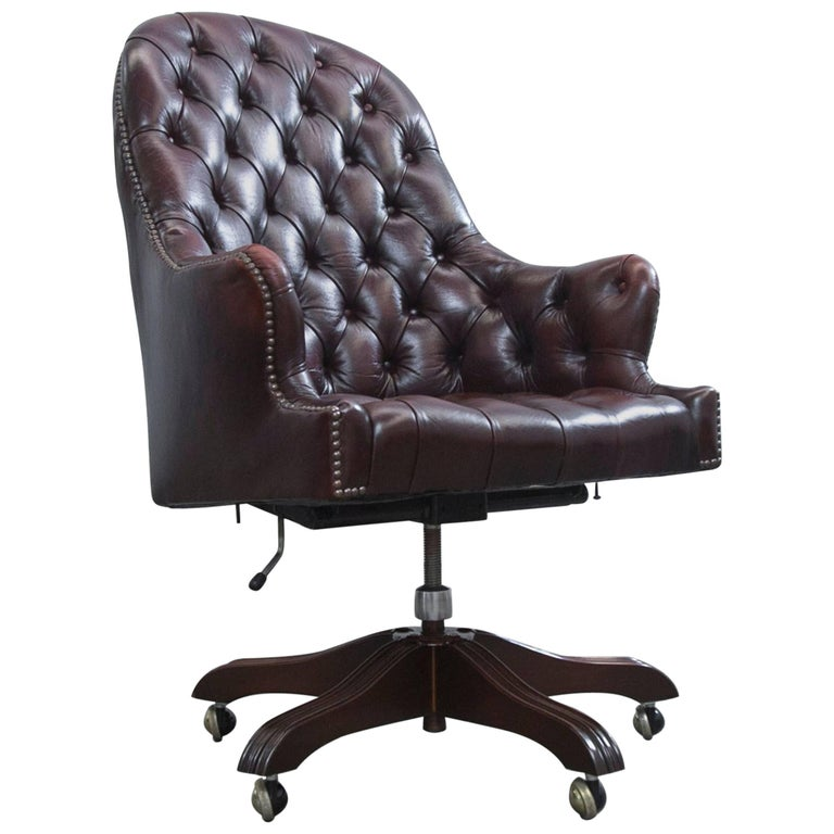 Wade Chesterfield Leather Revolving Chair Brown Retro Vintage