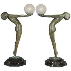 Pair of Large Art Deco Figural 'Clarté' Lamps by Max Le Verrier