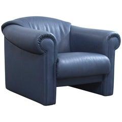 Brühl & Sippold Designer Leather Armchair Blue One-Seat Modern