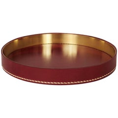 Contemporary Italian Leather and Swedish Brass Modern Minimalist Artisan Tray