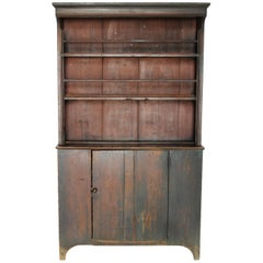 Painted Pine Step-Back Cupboard with Hooded Top