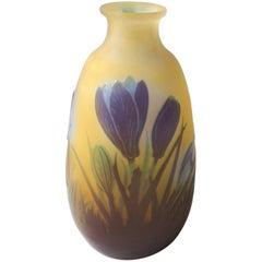 French Emile Galle Art Nouveau Cameo Glass Crocus Vase 1900