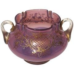 Bohemian Loetz Victorian Heliotrope Two Handled Glass Vase - 1890s