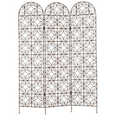 Hand-Forged Moroccan Iron Folding Screen, Room Divider, Garden Screen