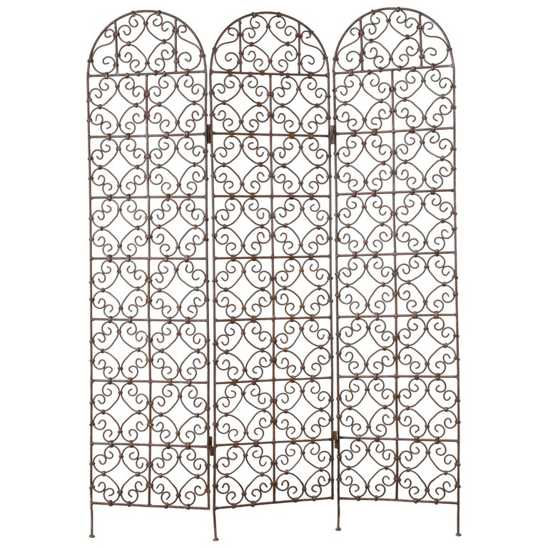 Hand-Forged Moroccan Iron Folding Screen, Room Divider, Garden Screen For Sale