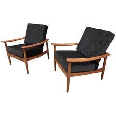 Pair of Teak Scandinavian Chairs 1960s Newly Reupholstered