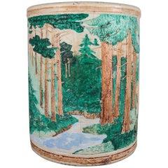 Oversized Weller School Pottery Woodland Vase, Forrest with Deer/Stag