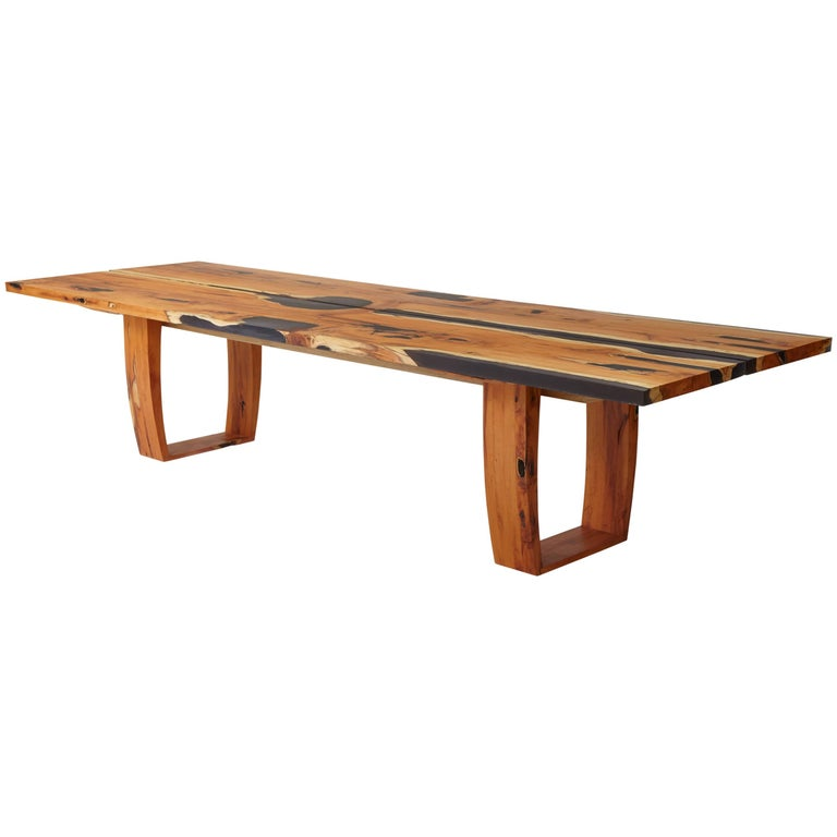 Contemporary English yew table, bookmatched inset live edge and resin. In stock  For Sale
