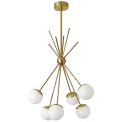 "Brass ""Burst"" Chandelier with Blown Glass Globes by Blueprint Lighting 2017"