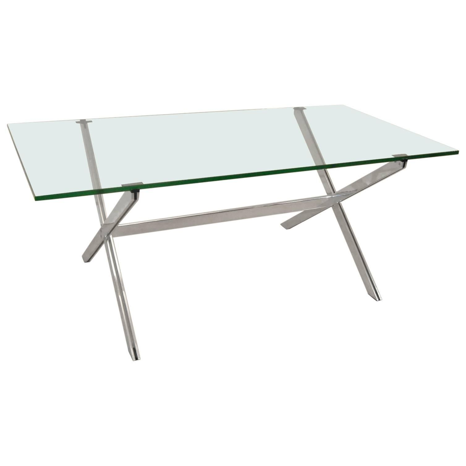 Mid-Century X-Base Dining or Conference Glass Top Table by John Vesey