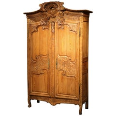 18th Century French Louis XV Carved Pine Wedding Armoire from Normandy