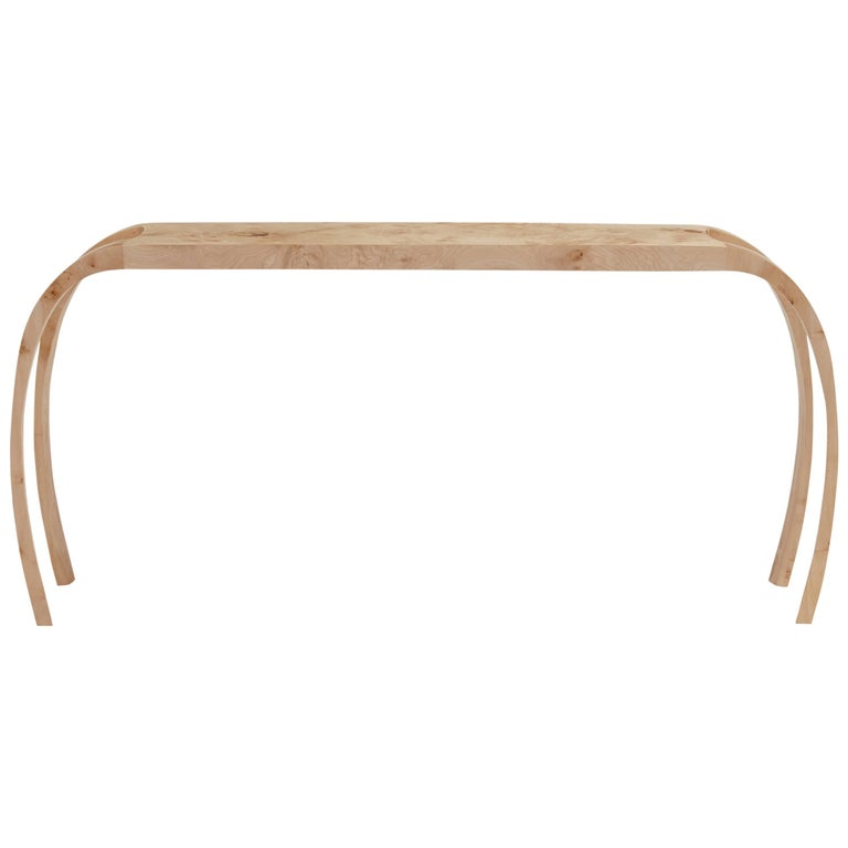 Contemporary console table in burr maple by Jonathan Field