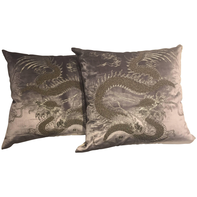 Dragon Cushion Chinoiserie on Silk Velvet Hand Embroidery Beading Silver