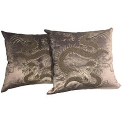 Dragon Cushion Chinoiserie on Silk Velvet Hand Embroidery Beading Silver