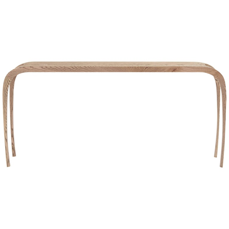Contemporary ash console table, hand carved, edition of five, two in stock.