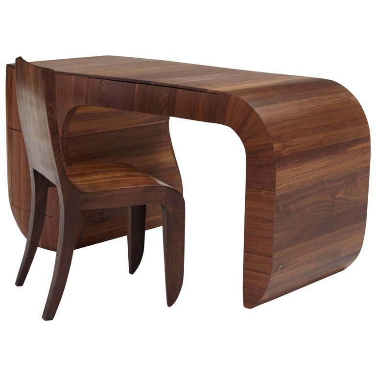 Contemporary 'Opener' desk in American black walnut. No4 of 5 edition in stock. For Sale