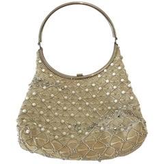 Beaded Beauty! Authentic Crème Colored Daniel Swarovski Bag
