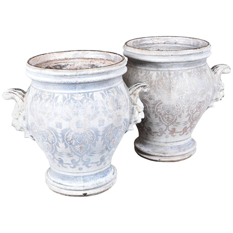 Pair of Rouen Urns For Sale