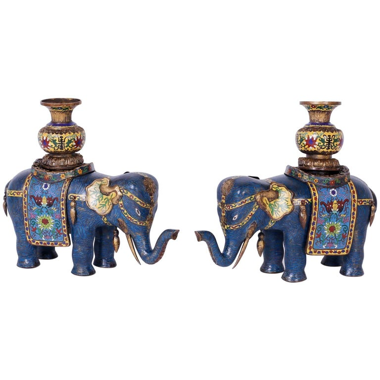 Pair of Vintage Cloisonné Elephant Sculptures or Planters For Sale