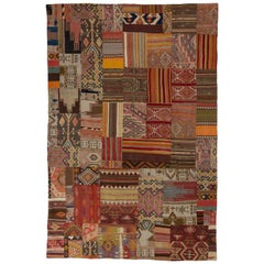 Unique Patchwork Rug Made of Vintage Anatolian Kilims