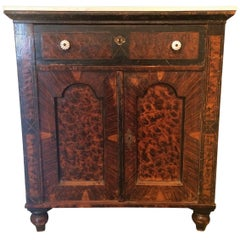 Wonderful Antique English Hall Grain Painted Cabinet with Marble Top