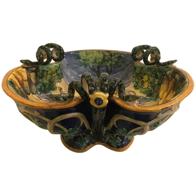 Italian Faience Snake Handled Bowl