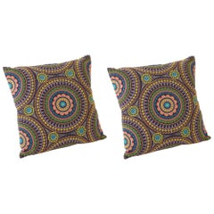 "Schumacher Idris Embroidery Bohemian Multi-Color Two-Sided 26"" Pillows, Pair"