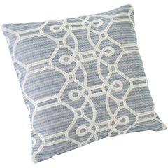 "Schumacher Ziz Embroidery Large-Scale Strié Trellis Blue Two-Sided 26"" Pillow"