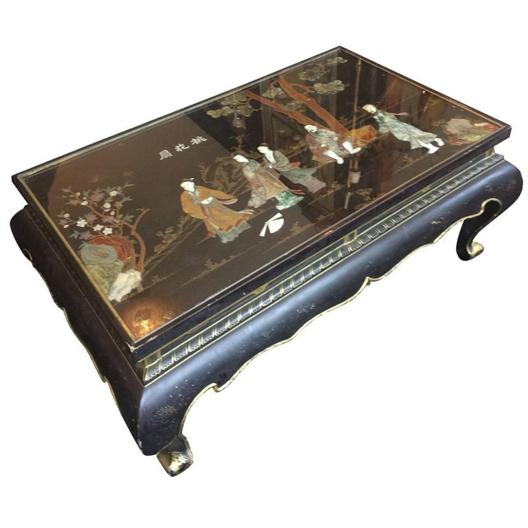 Rectangular Black And Gold Chinoiserie Coffee Table For Sale At 1stdibs