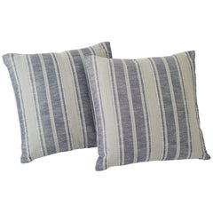"Schumacher Zina Stripe Large-Scale Textured Cotton Blue 26"" Pillows, Pair"