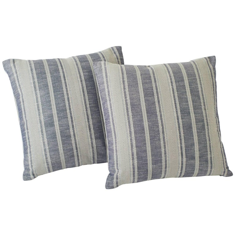 Schumacher Zina Stripe Large-Scale Textured Blue Two-Sided 26