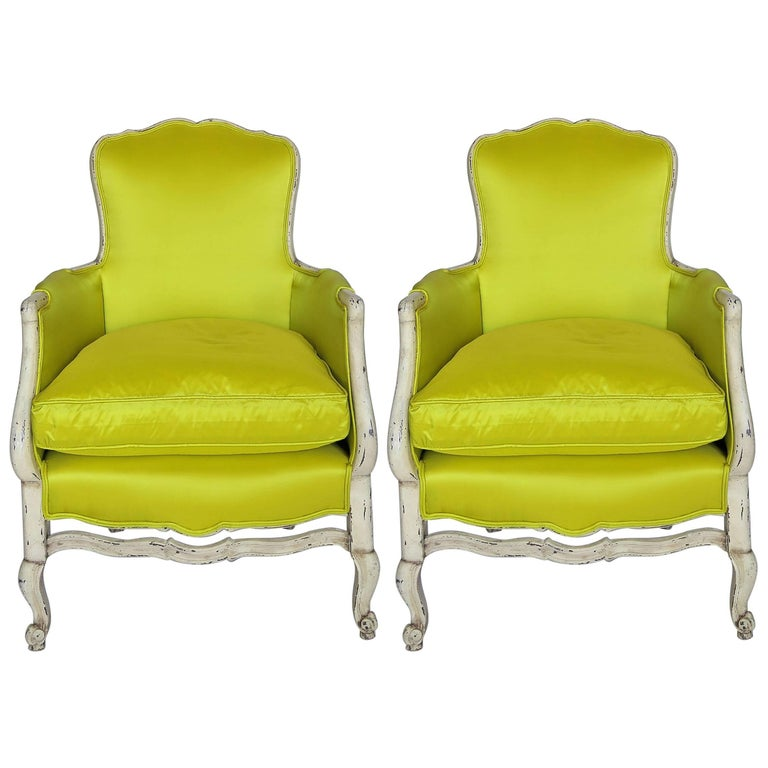 Pair of 19th Century Louis XV French Bergeres Chairs in Chartreuse Silk Fabric For Sale