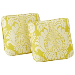 "Schumacher Alessandra Branca Anna Damask Acid Green Two-Sided 18"" Pillow, Pair"