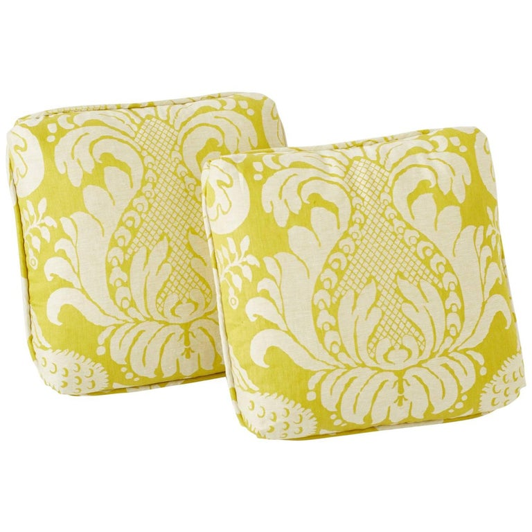 "Schumacher Alessandra Branca Anna Damask Acid Green Two-Sided 18"" Pillow, Pair For Sale"